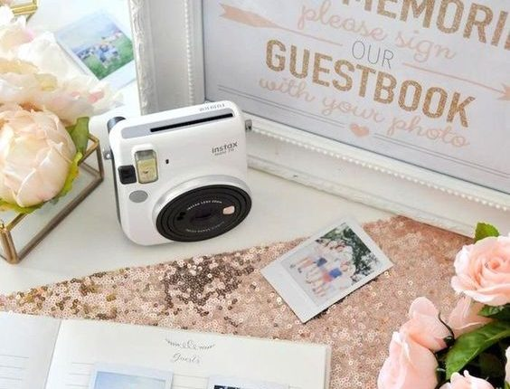 Photo Wedding or Bridal Shower Guest Book with Fuji Instax instant film camera