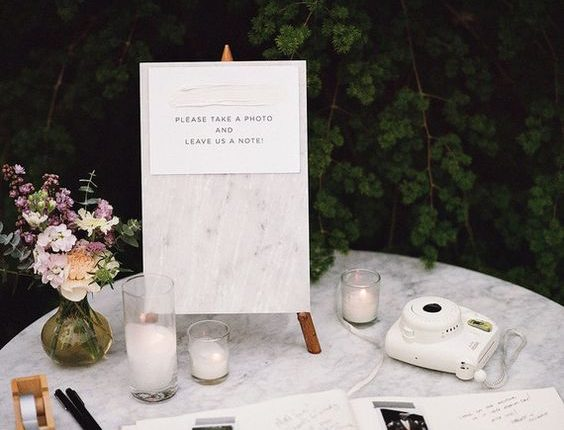 Polaroid guest book for elegant weddings