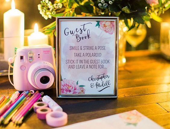 Polaroid wedding guest book station
