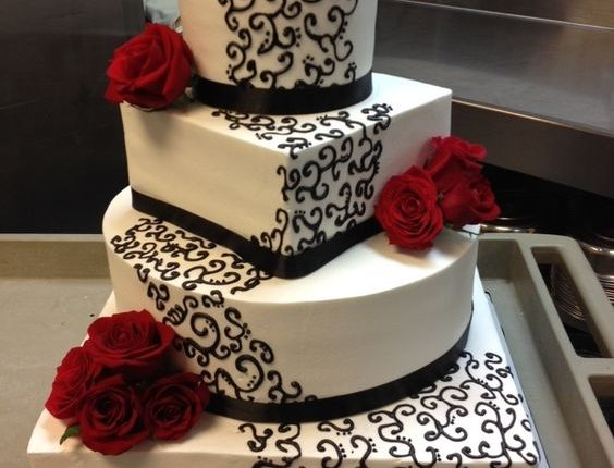 Red, White and Black square wedding cake