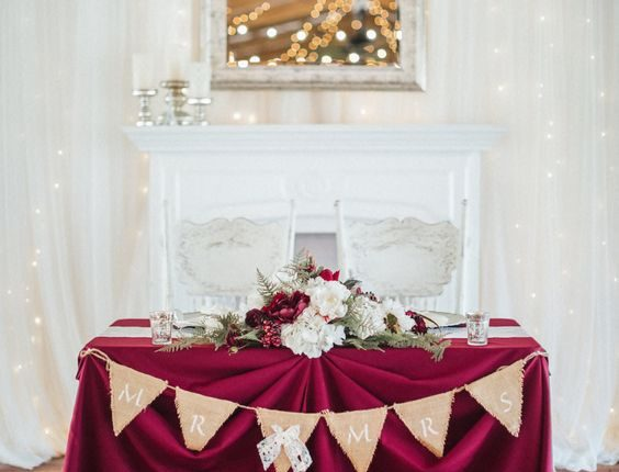 Rustic Barn Wedding Bride and Groom Sweetheart Table with Burlap Pennant Sign