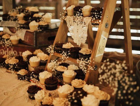 Rustic Cupcake Display Ladder