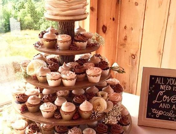 Rustic Cupcake Stand 5 Tier Tower for Donuts for Wedding