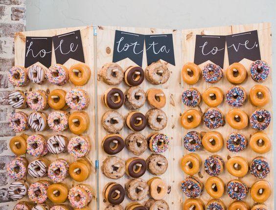 Rustic Donut Wall for Wedding Reception