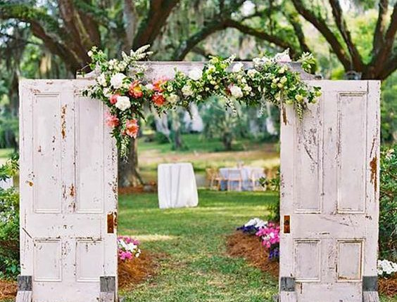 Rustic Old Door Wedding Backdrop