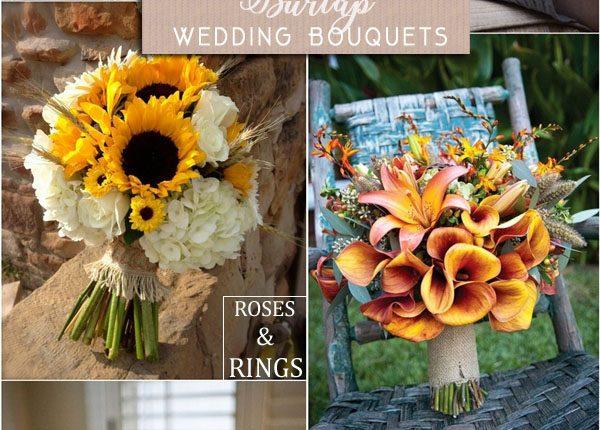 Rustic burlap wedding bouquets