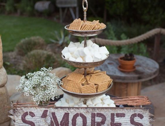 Rustic country S'mores wedding bar ideas