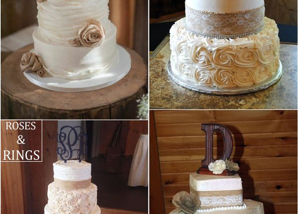 Rustic country burlap wedding cake ideas