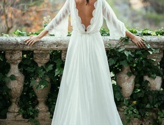 Sexy Ivory Lace Long Sleeve Backless Bohemian Wedding Dresses