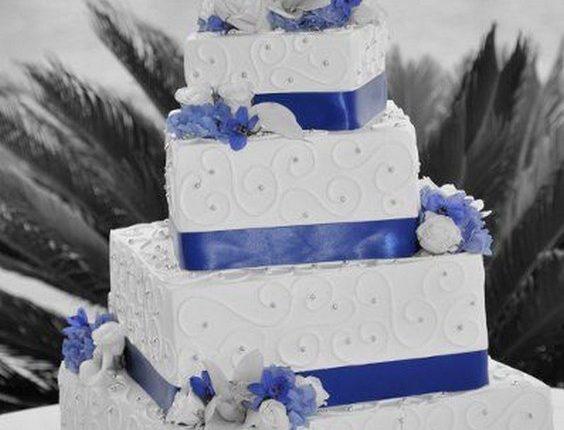 Square Wedding Cake with cobalt blue ribbon