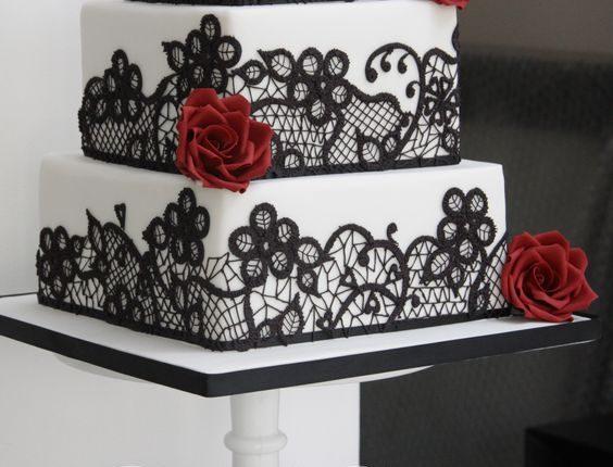 Square Wedding Cakes – Black, red and white wedding cake