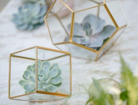 Succulents in Geometric Terrariums Wedding Centerpiece