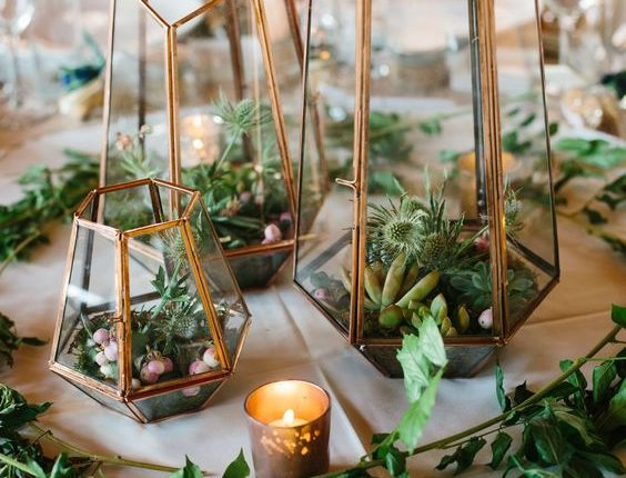 Terrarium and succulent wedding centerpiece