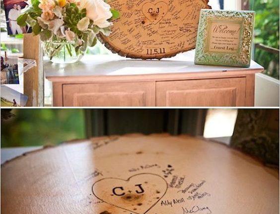 Tree Stump Wedding Guest Book