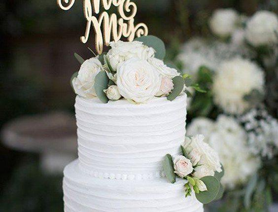 Two-Tier White Wedding Cake