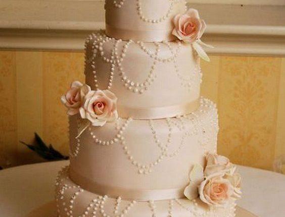 Vintage Rose Coral Wedding Cake