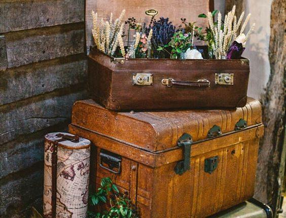 Vintage Travel Insipired Barn Suitcase Wedding Decor Idea