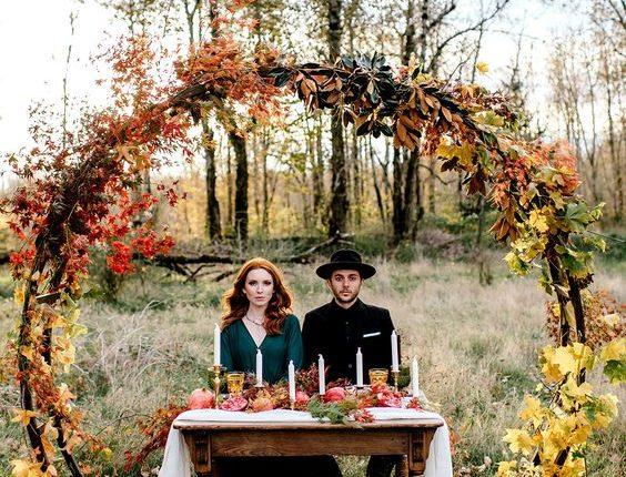 Vintage autumn sweetheart table decor