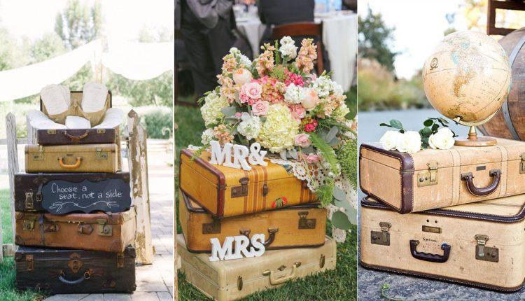 Vintage travel suitcase wedding decor ideas