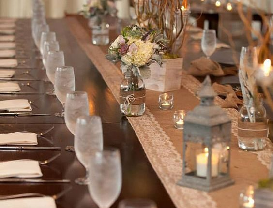 Wedding Burlap and Lace Table Runners with Natural Color Lace