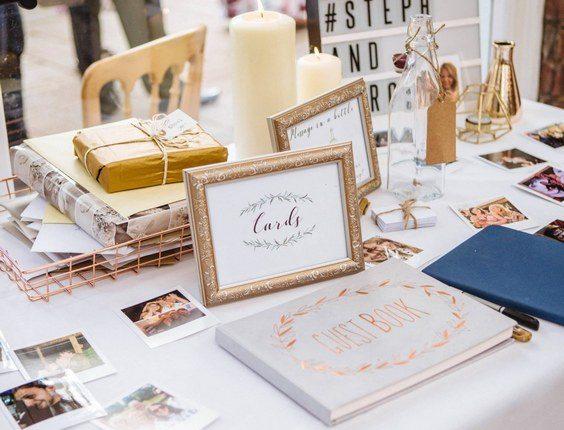 Wedding guestbook polaroid table