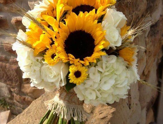 White Hydrangea and Yellow Sunflowers Wedding Bouquet