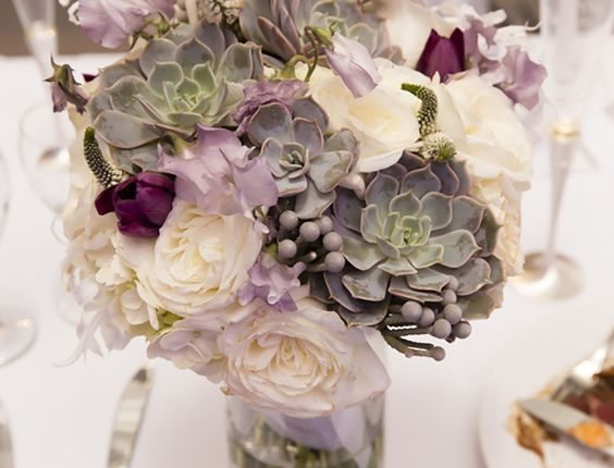White green and lavender bouquet with succulents and garden roses