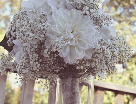 baby's breath and artificial white dahlias & roses burlap wedding bouquet