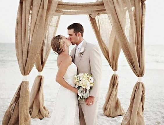 beach burlap wedding arch decor idea