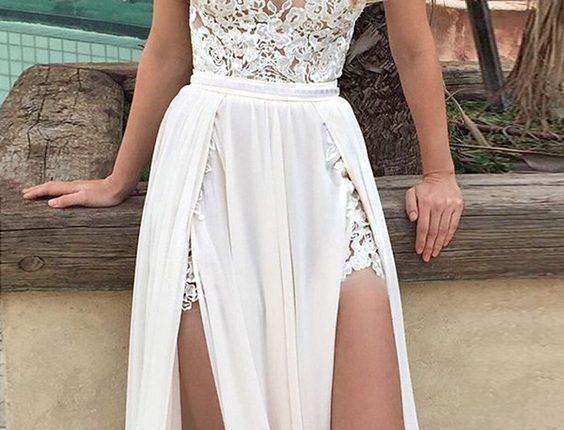beach wedding dresses deep v neckline thigh high split bertabridal