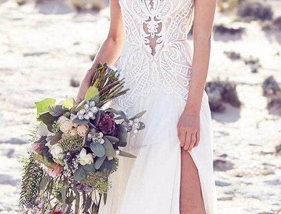 beach wedding dresses lace tattoo neck high split suzanneharward