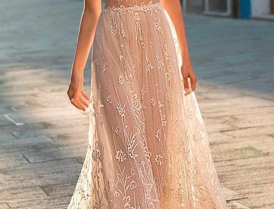 beach wedding dresses straight blush lace deep v neckline with straps gali karten