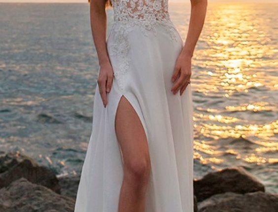 beach wedding dresses straight high slit lace illusion neckline sleeveless kuznetcova