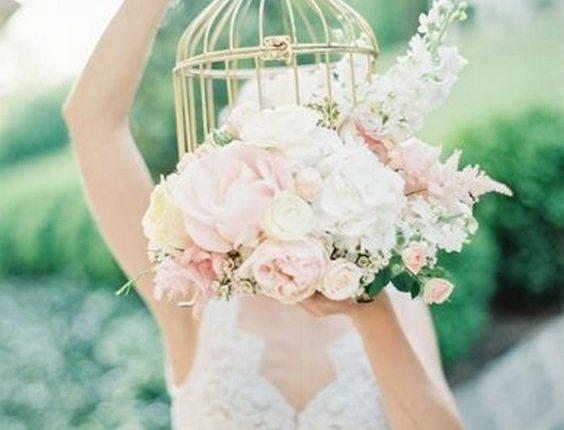 birdcage wedding bouquet
