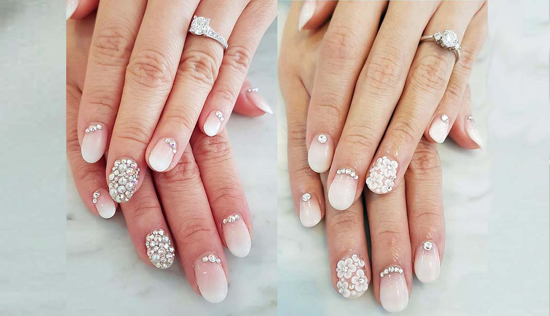 Bridal Nails Natural Ombre With Rhinestone And White Flowers
