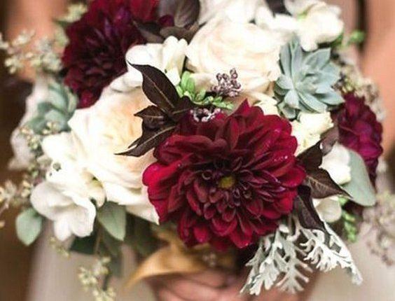burgundy dahlias and blush roses fall wedding bouquet