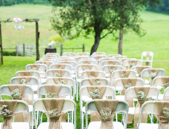 burlap and baby's breath wedding chair decor