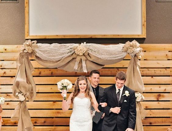 burlap and lace indoor wedding arch