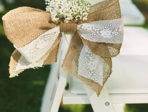 burlap and lace wedding chair decor