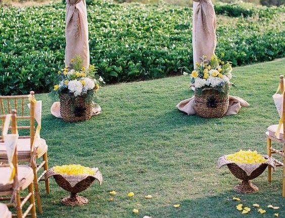 burlap rustic wedding archway