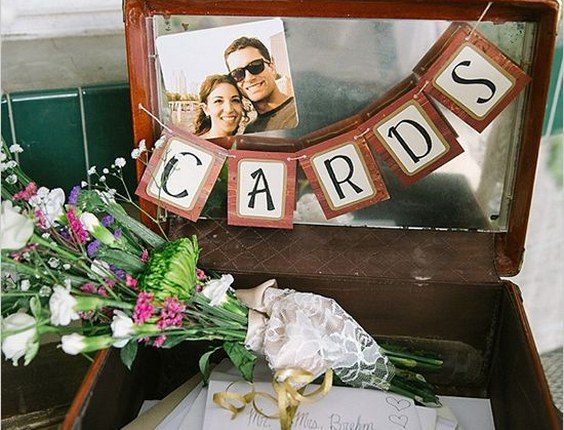 cards bunting in suitcase