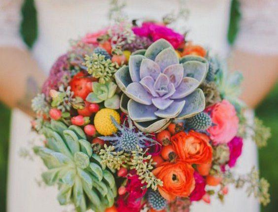 colorful succulent wedding bouquet