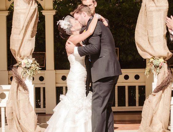 country farm burlap wedding arch