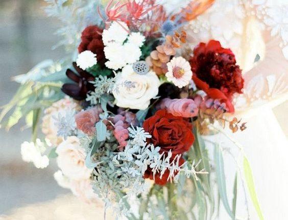 deep red fall wedding bouquet