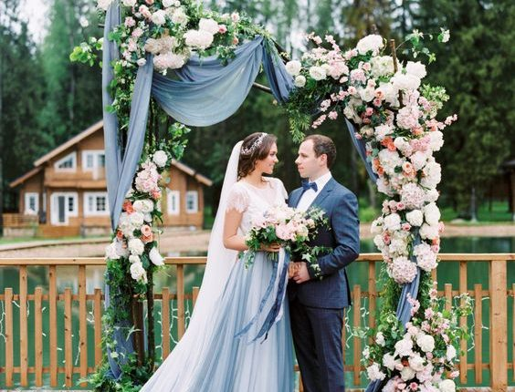 dusty blue rustic wedding arch