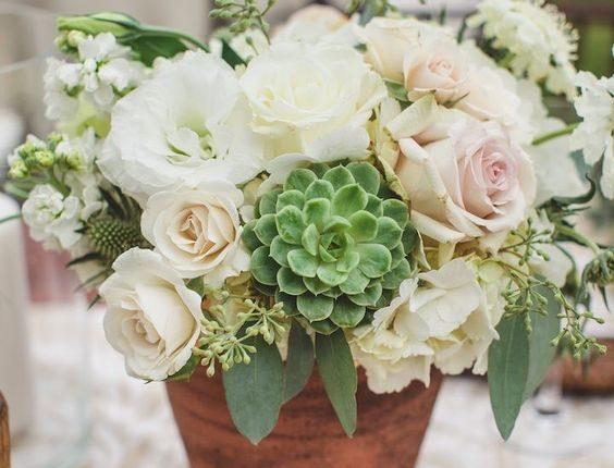 elegant roses and succulent wedding centerpiece