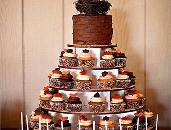 fall wedding cupcake tower