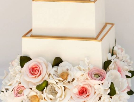 gold and ivory classic square weding cake