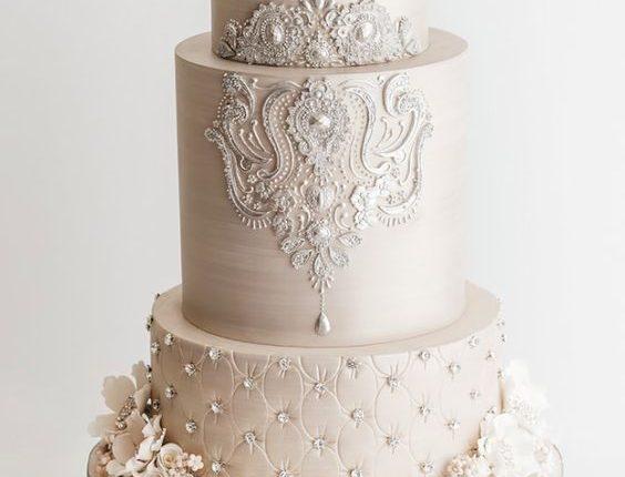 ivory baroque wedding cake