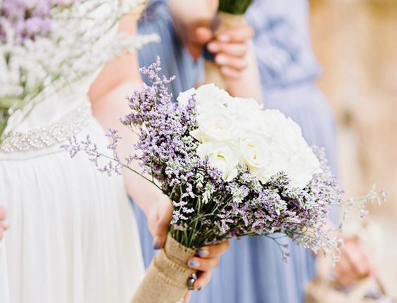 lavender and rose burlap wedding bouquets